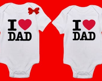 I Love Dad Onesie, I love daddy onesie. Fathers Day Onesie, First Fathers Day Onesie, funny baby onesie, Bodysuit, with bow for girls