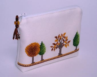 Autumn trees embroidered pouch
