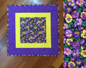 """Quilted table topper runner floral square topper 23"""" pansies purple and yellow"""