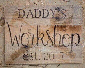 Father's day gifts Gifts for dad custom gifts for dad Gift for grandfather Workshop signs Garage sign Gifts for new dad Custom gifts for men