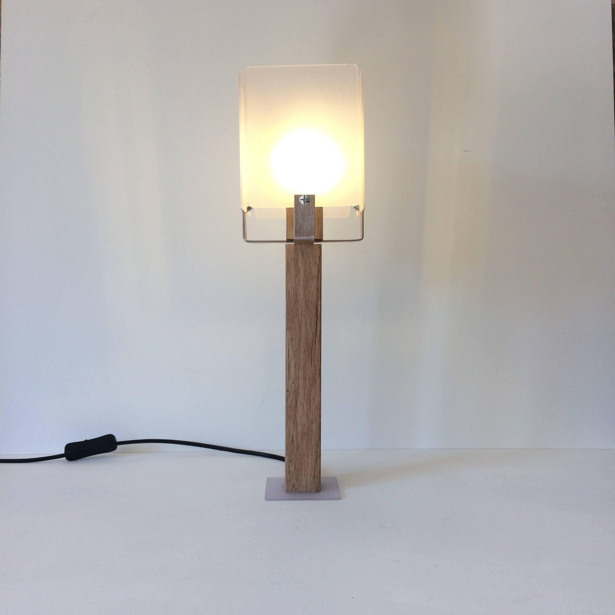 Modern Table Lamp, Office Desk Lamp, Wooden Lamp, Plastic Lamp, Stylish Lamp,  Contemporary Lamp, Modern Lighting, Modern Man Gift, Lampshade