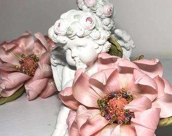 "Set ""Magnolia"", brooch and hairband, handmade, silk flowers"