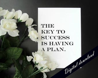 The Key to Success Is Having a Plan Printable - Retro Motivation Quote Printable - 5 x 7 Instant Digital Download