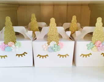Unicorn party boxes bags favours children's party handmade pack of 10