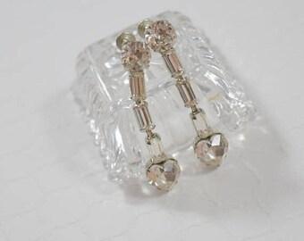 SALE Signed WEISS Vintage Screw Back Earrings Clear Crystal Rhinestone Dangle Drop Earrings Special Occasion Earrings