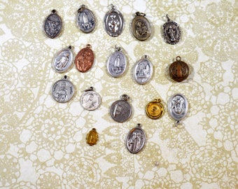Religious Supply LOT of 17 Religious Medals Pendants Assorted Styles Repurposing Lot Reuse Lot Religious Destash Lot Medal Lot #3684