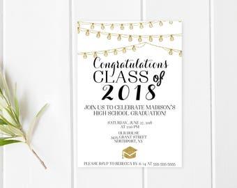Graduation Party Invitation, Grad Party, Graduation Invites, Grad, Congrats Grad, Graduate, Class of 2018, BBQ, Summer Party, Invites [249]