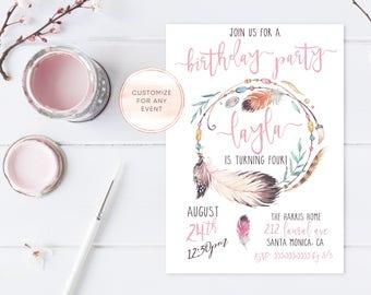 Boho Birthday Party Invites, Vintage Birthday Party Invites, Birthday Party Invites, Feather Birthday Party Invitations, Boho Birthday [487]