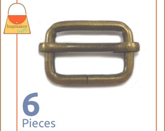 3/4 Inch Moving Bar Slide, Antique Brass / Bronze Finish, 6 Pieces, .75 Inch Movable Bar Slide, Purse Handbag Hardware Supplies, BKS-AA056