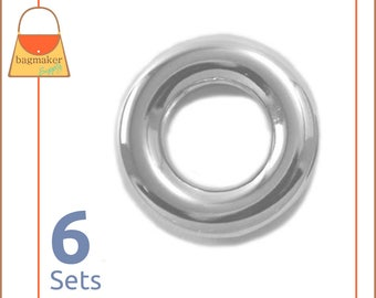 "5/8 Inch Snap Together, Force-Fit Eyelets, Shiny Nickel Finish, 6 Sets, No Tools Needed to Apply, Handbag Purse Hardware, 5/8"", EGR-AA021"