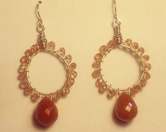 Faceted Peach Quartz and Aventurine Earrings WIre Wrapped with Sterling Silver