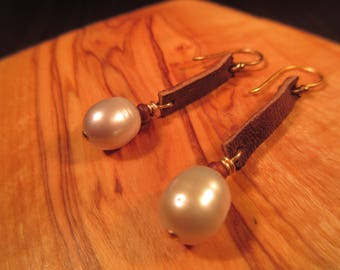 Boho Leather and Pearl Drop Earrings