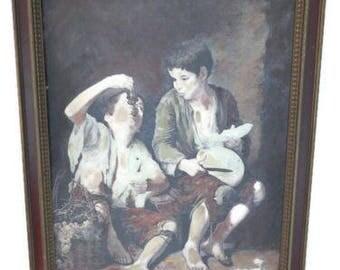 vintage oil painting - vintage oil - vintage art - vintage artwork - artwork vintage - murillo - begger boys - oil on canvas