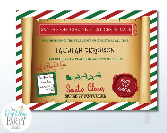 Christmas Santa Nice List Certificate Template In Red Green A4
