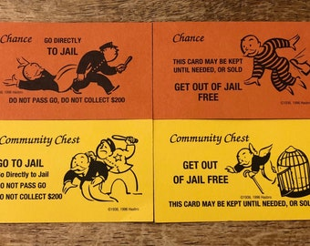 Set of Go To Jail and Get Out Of Jail Chance and Community Chest Monopoly Game Cards