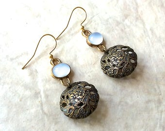 Brass button earrings, button dangle, blue gold earrings Antique Art Deco