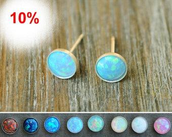 Opal stud earrings. Classic Opal Studs. Opal stud White. Opal silver stud. 6 mm Gold Filled. Opal stud gift. October Birthstone opal jewelry
