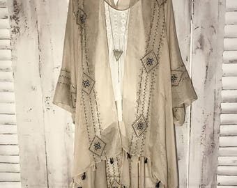Beau & Arrow Kimono - S A N D Boho Kimono Beach Cover Up, Chiffon Kimono, Long Robe, Summer Kimono, Bohemian Print Kimono, Boho Fashion