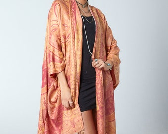 Willow Kimono - P EA C H Y Boho Kimono Beach Cover Up, Chiffon Kimono, Long Kimono Robe, Summer Kimono, Bohemian Print Kimono, Boho Fashion