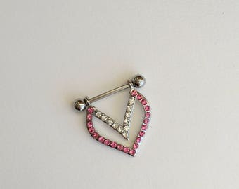 Set of ( 2 ) CZ Heart Silver Nipple Ring. Big.