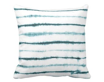 "Shibori Stripe Throw Pillow, Teal & White Print 16 or 20"" Square OUTDOOR or INDOOR Pillows, Subtle Striped Blue/Green/Turquoise"