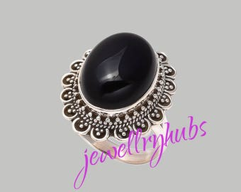 Black Stone Ring, Black Onyx Ring, Black Silver Ring, Sterling Silver Ring, Women Ring, Bohemian Ring, Size - US 4 to 16,  R22BO