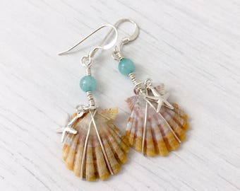 Sunrise Shell Sterling Silver Earrings with Amazonite