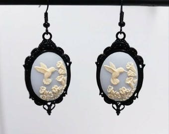 Hummingbird Cameo Victorian Earrings