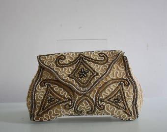 Vintage 1930s Art Deco Seed Beaded Clutch Bag