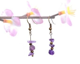 Amethyst earring, purple gemstone jewelry, antique bronze dangle earring natural amethyst jewelry gemstone earring boho jewelry new age vyc