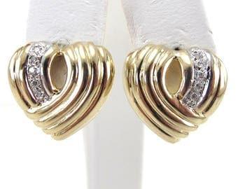 14k Yellow Gold Heart Diamond Stud Earrings - Valentines Diamond Earrings
