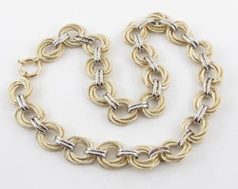 "Love Knot Rolo link Necklace 14k Yellow And White Gold Toggle Clasp 18"" 30.1 g"