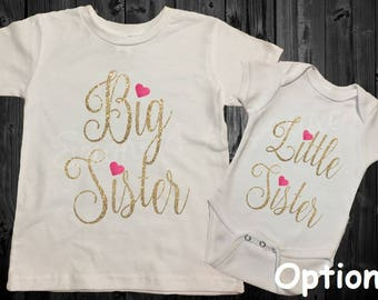 Big Sister/Little Sister - Sibling Shirt Set - Hearts - Black/Gold/Pink/Glitter