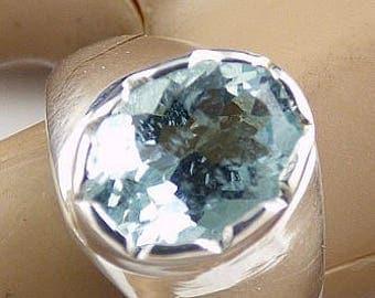 Aquamarine ring aquamarine jewels, natural stone kb40.1 AIGUEMARINE FACETTEE, heart chakra, natural stone ring