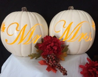 "Mr. & Mrs. 9"" pumpkin set"