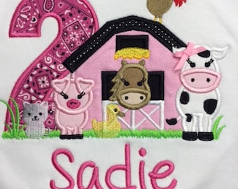 Girls Pink Farm Shirt