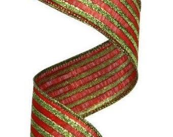 "1.5"" Red Lime Green Metallic Stripe Ribbon RG010183Y, Red Lime Green Lame Metallic Ribbon, Red Green Stripe Ribbon, Wired Ribbon (10 Yards)"