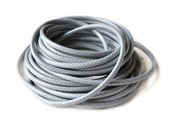 Gray 3 mm waxed polyester cord