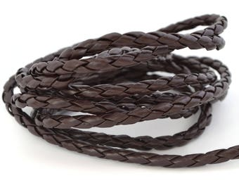 4 mm Brown faux leather braided cord