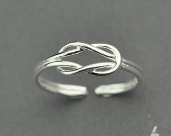 Sailor knot sterling silver ring / Adjustable ring / Open ring /SIMPLE RING (R058)