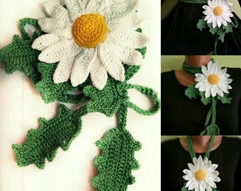 Bohemian, Daisy Necklace, 2 in 1 accesory, daisy belt, Lariat necklace, crochet daisy. statement necklace, floral necklace, daisy brooch