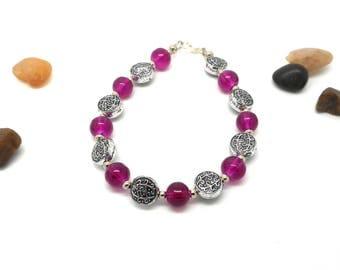 Silver bracelet purple and silver beads flower