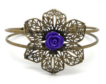 Bronze Bangle, flower and purple flower