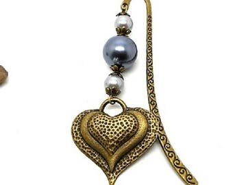 Bookmark bronze jewelry, Pearl gray heart