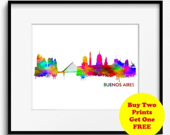 Buenos Aires Skyline Watercolor Art Print (230) Buenos Aires Cityscape, Buenos Aires Painting, Buenos Aires Art Print, Buenos Aires Poster