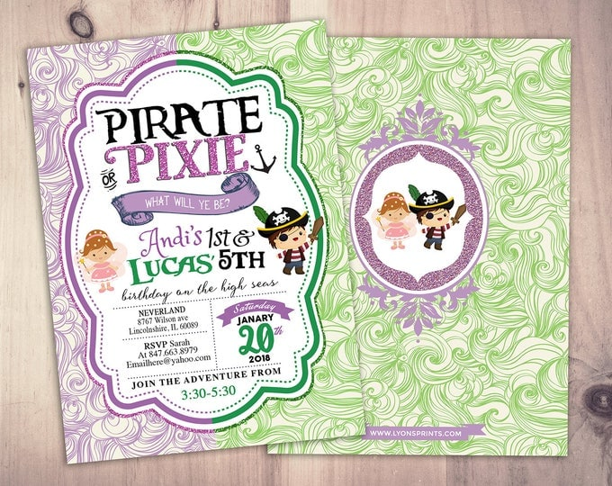 Pirates,Princess, Pixie Party Invitations, Pirate, Princess, Pixie Birthday Invitation, Princess and Pirate invitation ,Twins, fairy, baby