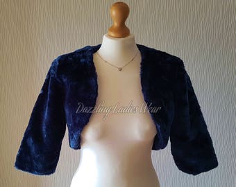 Dark Blue Faux Fur Bolero 3/4 Sleeves / Shrug / Jacket / Shawl / Wrap / Weddings Full Satin Lining - UK 4-26, US 2-24, EUR 32-54