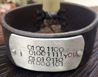 Fully adjustable leather cuff-aluminum-hand stamped-binary code-i love you