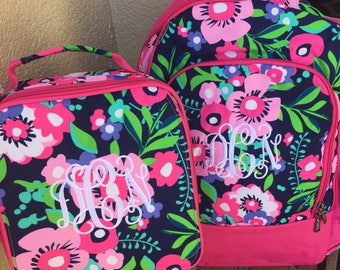 LunchboxIN STOCK Monogrammed Backpack and Lunchbox, Posie Backpack and Lunchbox