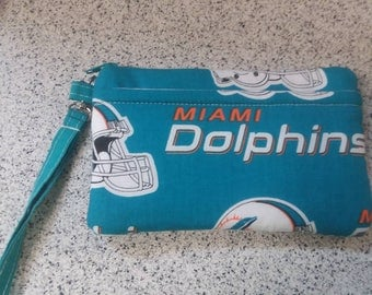 Handmade Miami Dolphins Design Print Wallet Wristlet Phone Case with strap